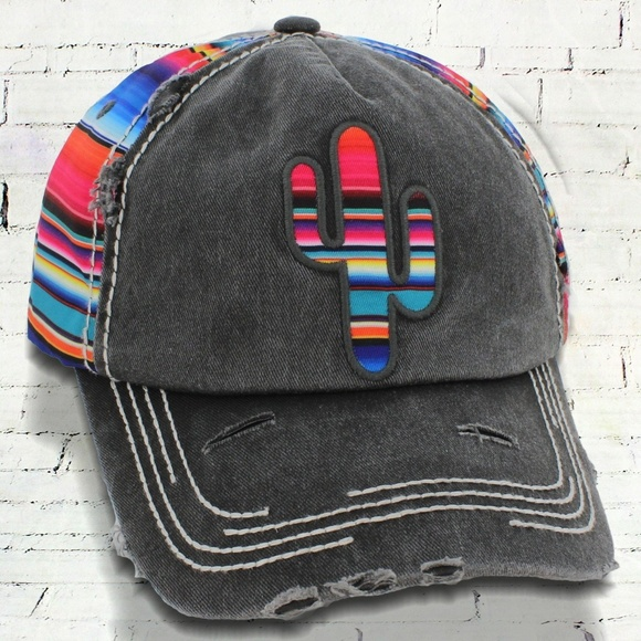 869c652fa Accessories | Distressed Black Serape Cactus Cap | Poshmark